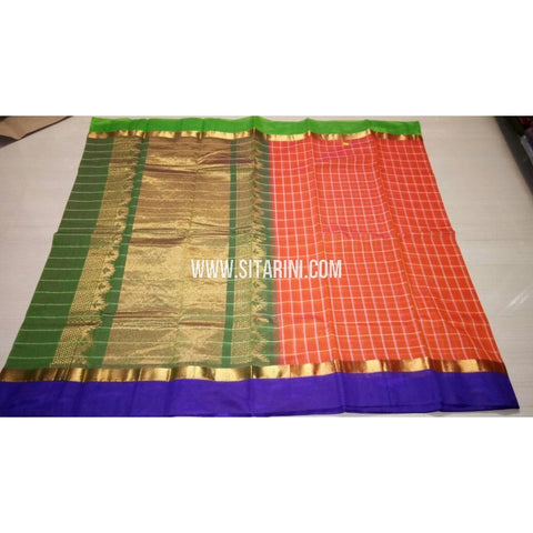 Fancy Kuppadam Saree with Checks-Peach-USHKFC103