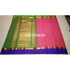 Fancy Kuppadam Saree with Checks-Pink-USHKFC106