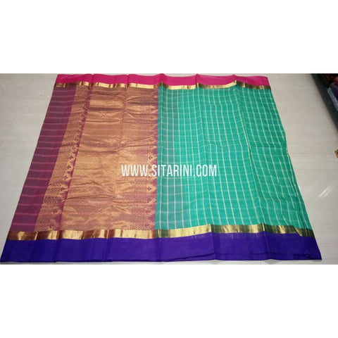 Fancy Kuppadam Saree with Checks-Sea Green-USHKFC101