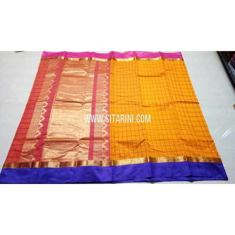 Fancy Kuppadam Saree with Checks-Yellow-USHKFC104