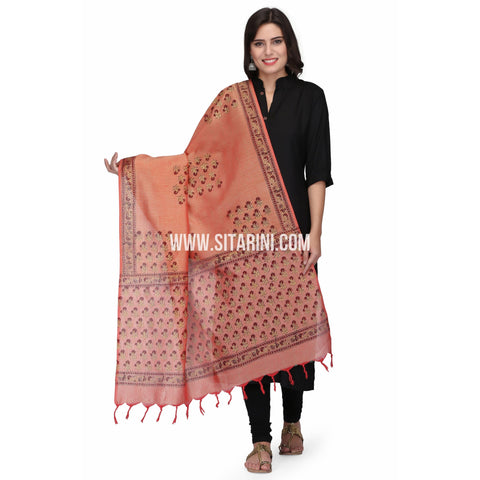 Floral Cotton Dupattas-Red-Sitarini-LWTCD124