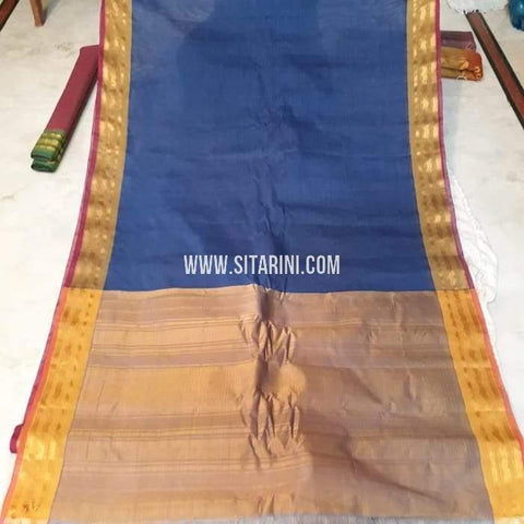 Gadwal Cotton Saree-Blue-Sitarini-SITGCS106