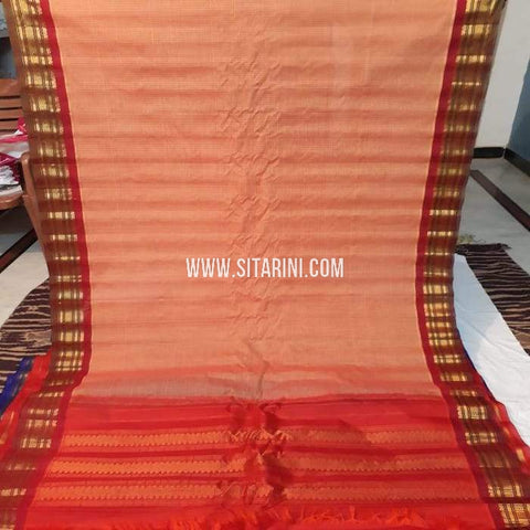 Gadwal Cotton Saree-Light Peach-Sitarini-SITGCS114