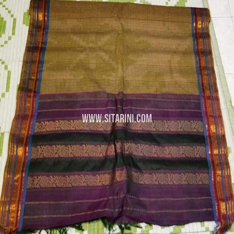 Gadwal Cotton Saree-Mehandni Green-Sitarini-SITGCS113