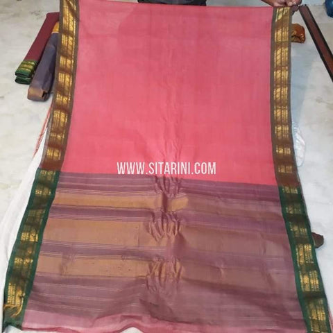 Gadwal Cotton Saree-Onion Pink-Sitarini-SITGCS105