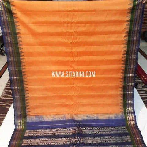 Gadwal Cotton Saree-Orange-Sitarini-SITGCS117