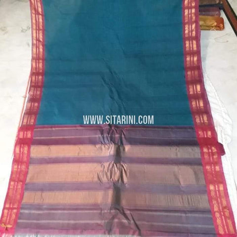 Gadwal Cotton Saree-Peacock Blue-Sitarini-SITGCS107