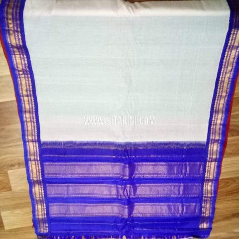 Gadwal Cotton Saree-White-Sitarini-SITGCS111