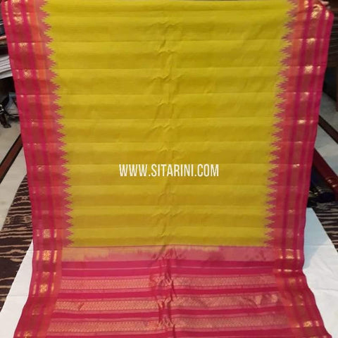 Gadwal Cotton Saree-Yellow-Sitarini-SITGCS116