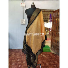 Gadwal Pattu Dupattas-Cream and Black-Sitarini-PRHGSD107