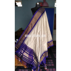 Gadwal Pattu Dupattas-Half White and Blue-Sitarini-PRHGSD116