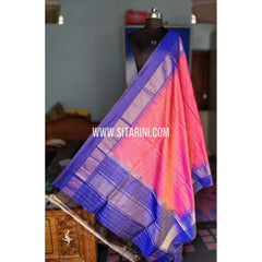 Gadwal Pattu Dupattas-Pink and Blue-Sitarini-PRHGSD124