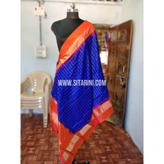 Gadwal Pattu Dupattas-Royal Blue and Orange-Sitarini-PRHGSD110