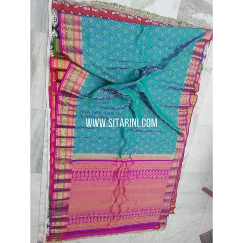 Gadwal Pattu Saree-Blue And Pink-Sitarini-SITGSS151