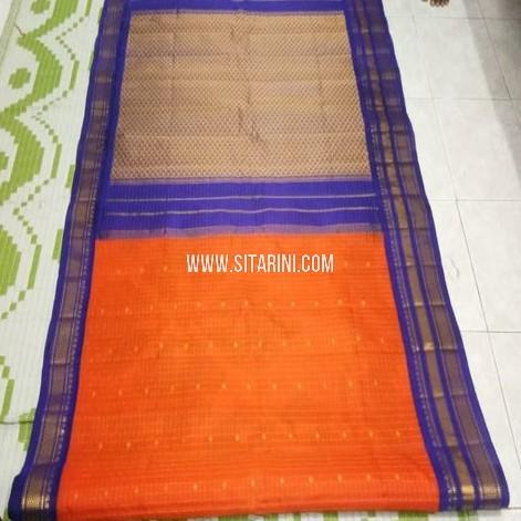 Gadwal Pattu Saree-Orange-Sitarini-SITGSS326