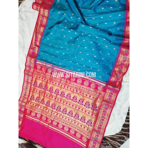 Gadwal Pattu Saree-Sky Blue And Pink-Sitarini-SITGSS156