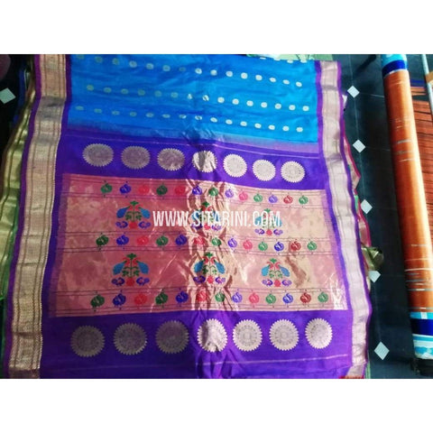 Gadwal Pattu Saree-Sky Blue And Purple-Sitarini-SITGSS150