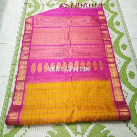 Gadwal Pattu Saree-Yellow-Sitarini-SITGSS330