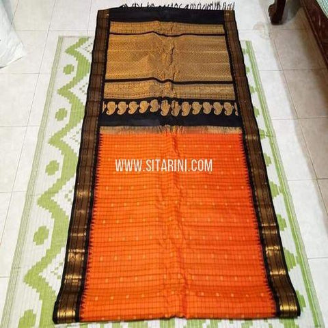 Gadwal Saree-Pattu-Orange-Sitarini-SITGSS327
