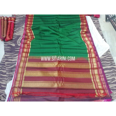 Gadwal Sico Saree-Green And Maroon-Sitarini-SITGSCS115