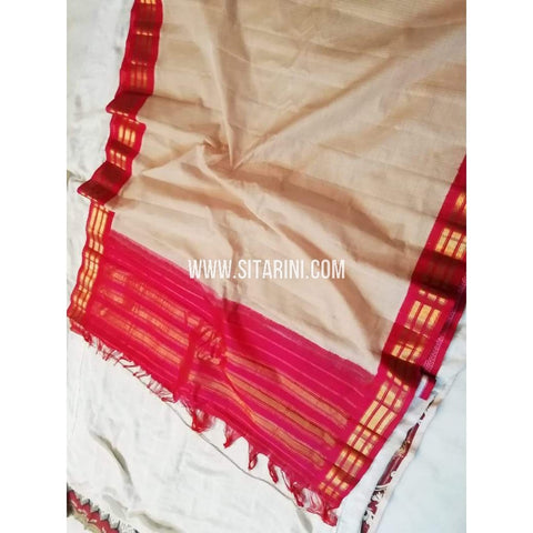 Gadwal Sico Saree-Off White And Red-Sitarini-SITGSCS109