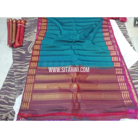 Gadwal Sico Saree-Peacock Blue And Maroon-Sitarini-SITGSCS114