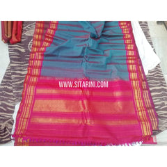 Gadwal Sico Saree-Peacock Blue And Pink-Sitarini-SITGSCS113