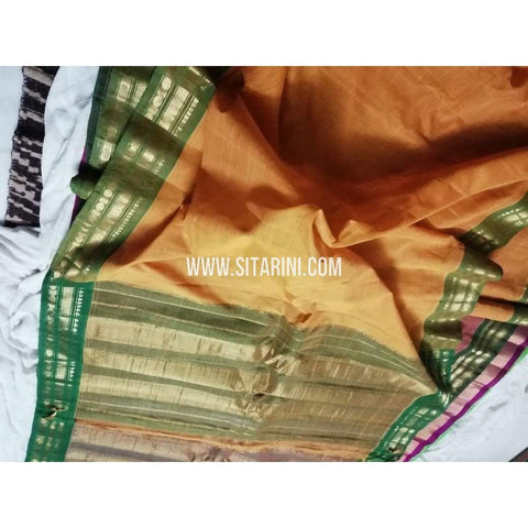 Gadwal Silk Cotton Saree-Mustard Yellow-Sitarini-SITGSCS101