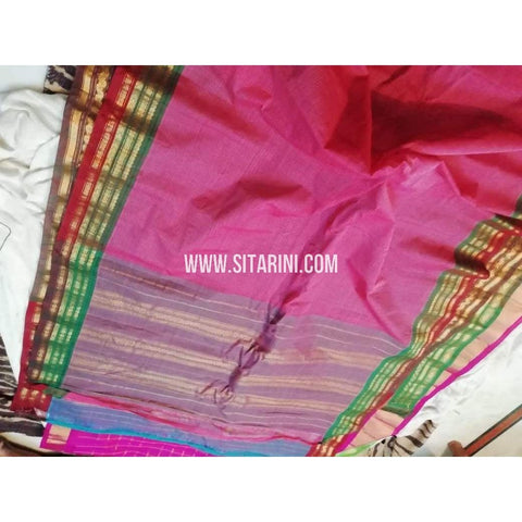 Gadwal Silk Cotton Saree-Onion Pink-Sitarini-SITGSCS103