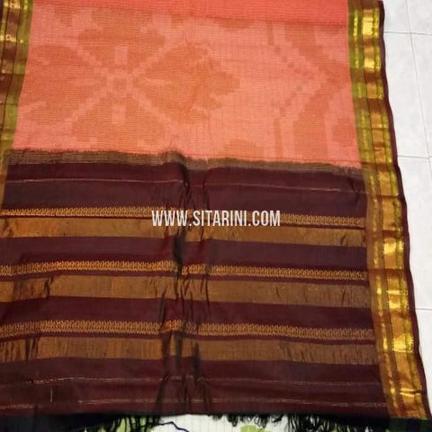 Gadwal Silk Cotton Saree-Peach-Sitarini-SITGSCS133