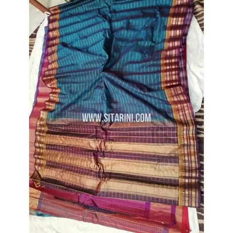 Gadwal Silk Cotton Saree-Peacock Blue And Maroon-Sitarini-SITGSCS107