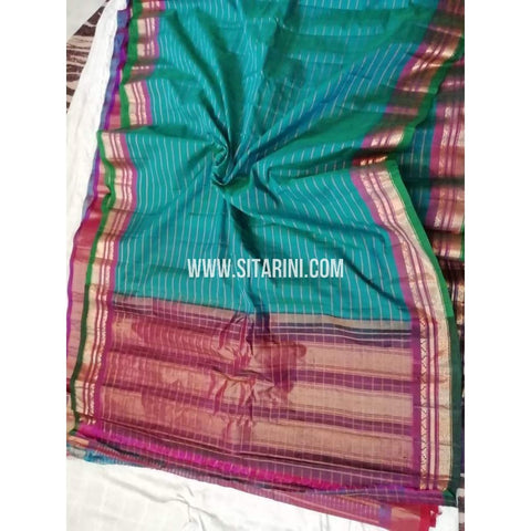 Gadwal Silk Cotton Saree-Peacock Green-Sitarini-SITGSCS104