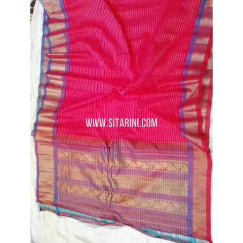 Gadwal Silk Cotton Saree-Pink And Purple-Sitarini-SITGSCS106