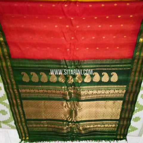 Gadwal Silk Cotton Saree-Red-Sitarini-SITGSCS138