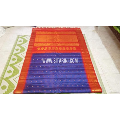 Gadwal Silk Saree-Blue And Orangish Red-Sitarini-SITGSS100