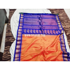 Gadwal Silk Saree-Light Orange And Blue-Sitarini-SITGSS115