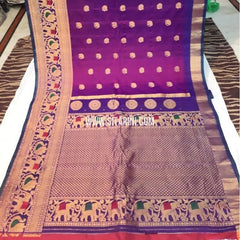 Gadwal Silk Saree-Purple-Sitarini-SITGSS191