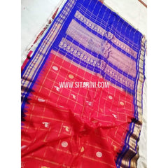 Gadwal Silk Saree-Red And Violet-Sitarini-SITGSS108