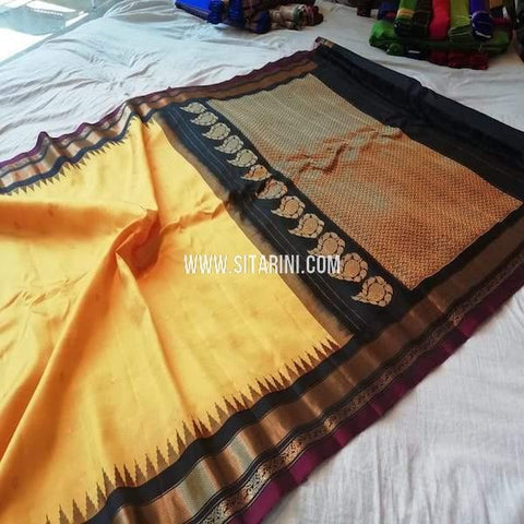 Gadwal Silk Saree-Yellow-Sitarini-SITGSS295