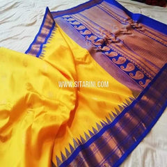 Gadwal Silk Saree-Yellow-Sitarini-SITGSS296
