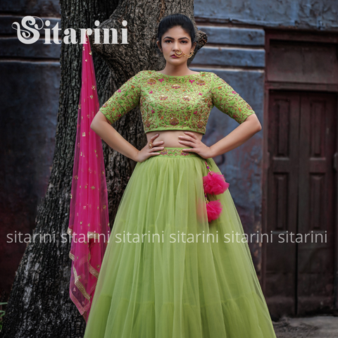 Green Designer Lehenga and Blouse with Pink Dupatta