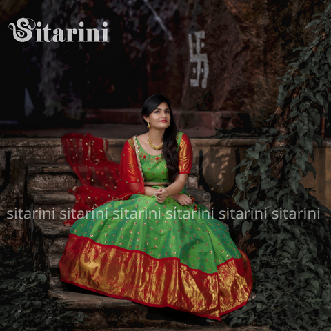 Green Designer Lehenga and Blouse with Red Dupatta