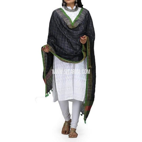 Handloom Linen Checks Dupatta with Zari-Black-Sitarini-LWTLD100