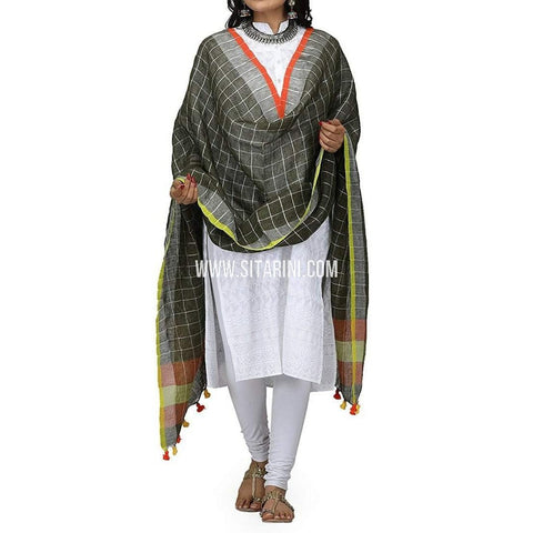 Handloom Linen Checks Dupatta with Zari-Black-Sitarini-LWTLD104