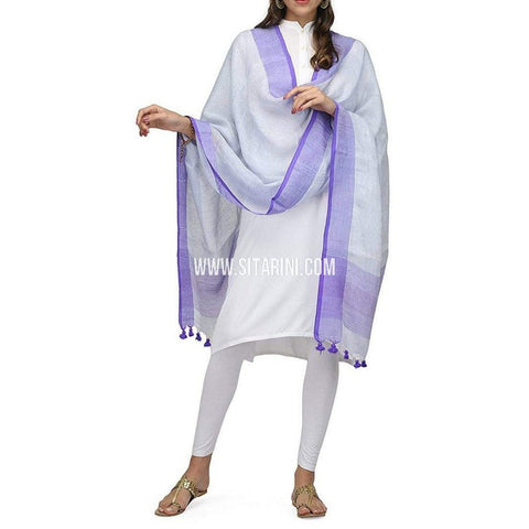 Handloom Linen Dupatta with Zari-Light Purple-Sitarini-LWTLD111