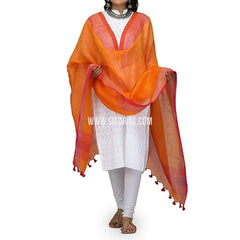 Handloom Linen Dupatta with Zari-Orange-Sitarini-LWTLD108