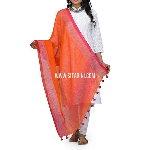 Handloom Linen Dupatta with Zari-Orange-Sitarini-LWTLD112