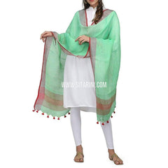 Handloom Linen Dupatta with Zari-Sea Green-Sitarini-LWTLD113