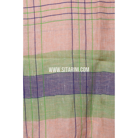 Handloom Linen Dupattas With Checks-Pink-Sitarini-LWTLD134