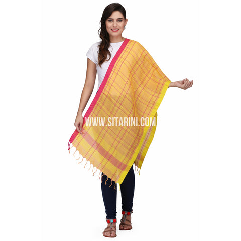 Handloom Linen Dupattas With Checks-Yellow-Sitarini-LWTLD135